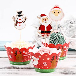 $enCountryForm.capitalKeyWord Australia - 24pcs lot Christmas Cupcake Toppers Picks Cupcake Pick Muffin Cupcake Wrappers and Toppers Baby Shower Birthday Party Decoration