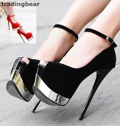 75414fb55df 16cm Ultra High Heels Black Red Synthetic Suede Ankle Strap Super Platform  Pumps Prom Night Club Shoes Size 34 to 39