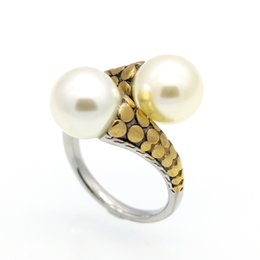 Cast silver rings online shopping - Hot brand titanium stainless steel ring stainless steel casting vintage ring with big pearl ring