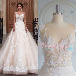Lace Wedding Dresses Canada - Champagne Lace Beach Wedding Dresses Sleeves Sheer Illusion Bodice Plus Size Wedding Dress Long Train Country Bridal Gowns Vestido de novia