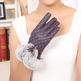 high leather gloves NZ - 2017 women new dress show autumn winter arrived high grade fashion soft PU leather warm thick fur korea gloves mittens
