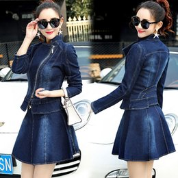 Jupe Élégante Pas Cher-Denim Jacket Skirt Suit 2017 Printemps Fashion Elegant Casual 2 Piece Set Femmes Zipper Jeans Manteau et Mini Swing Skirts Costumes