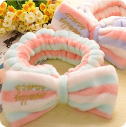 Wholesale Microfiber Velvet Big Bow Headbands Wash Face Clean Makeup and Beauty Hairbands Korea Hair Bands Dots
