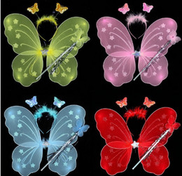 Wholesale 20 Little girl angel butterfly wings three piece toy children s performance costume props fairy wand magic bar