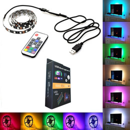 Usb wired controller pc online shopping - TV Background LED Strip Lighting LEDs m DC5V USB SMD5050 RGB With Mini and Key RF Controller cm m m Set