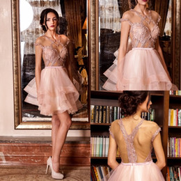 Robes De Bal Peu Courtes Pas Cher-Cheap Blush Pink Homecoming Robes Sexy Beads Short Sleeve Robes de bal Crystal Tiered Ruffles Formal Party Evening Dress