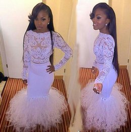 sexy gril dresses UK - 2017 Long Sleeve Lace White Mermaid Prom Dresses African vestidos de baile Beaded Appliques See Through Black Gril Dress