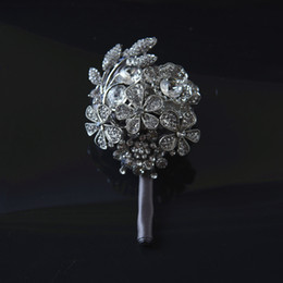 Men flower brooches online shopping - YFMY dark grey rhinestone pin brooches ribbon rose prom corsage Alloy brooch wrist flowers for man