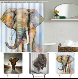 Curtains styles designs online shopping - 3D Printing Shower Curtains x180cm Elephant Printed Waterproof Polyester Shower Curtain Bathroom Partition Curtains design KKA1389