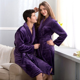 Wholesale- Thoshine 2017 Spring Autumn Warm Coral Fleece Couple Robes  Family Flannel Nightdress Women   Men Sleepwear Lady Leisure Bathrobe b40c0e379