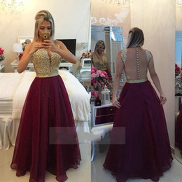 $enCountryForm.capitalKeyWord Canada - 2017 See Through Back Burgundy Evening Dresses Long Organza Gold Beaded Lace Appliques Champagne Lace Applique Formal Prom Gowns
