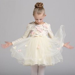 Embroidered Tutu Canada - Formal Kids Dress For Girls 2017 Princess Wedding Party Dress tutu Cotton Dress Infant girl Dresses Frocks Bridesmaid Children Clothing