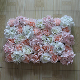 Wall Led Lights NZ - 10 pcs   lot artificial rose and LIGHT pink white hydrangea flower wall for wedding backdrop or lawn pillar road lead decoration