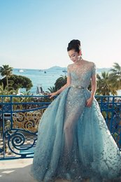 Wholesale 2017 Custom Made Elie Saab Evening Dresses Illusion Sheer Skirts Sky Blue Sexy Long Prom Dresses Luxury Peplum Celebrity Evening Dress