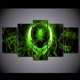 art canvas prints Australia - 5 Pcs Set Framed HD Printed Green Alienware Picture Wall Art Canvas Print Room Decor Poster Canvas Pictures Painting