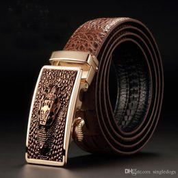 Crocodile Mans Belt Canada - Father's Days Gift Crocodile Genuine Leather Belt For Men Father Fashion Automatic Buckle Belt Designer Waist Belt Free Shipping