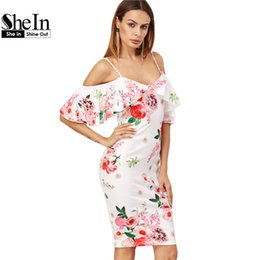 S'habille Sexy Korean Short Pas Cher-Wholesale- SheIn Summer Women Dress Costume de mode coréenne White Rose Print Cold Shoulder Short Sleeve Ruffle Longueur à genou