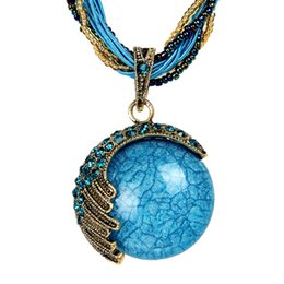$enCountryForm.capitalKeyWord NZ - New Bohemian Necklace Vintage Style Fashion Jewelry Round Opal Pendant Peacock Feather Set Crystal Necklace Free shipping
