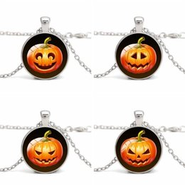$enCountryForm.capitalKeyWord Australia - DHL Halloween Pumpkin Smiling Face Pendant Necklaces Women Dome Glass Cabochon Crystal Silver Long Link Chain Statement Charm Jewelry Gifts