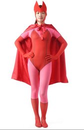 $enCountryForm.capitalKeyWord UK - DHL Women Pink & Red Superhero Full Body Spandex Lycra Zentai Suit Hat Cloak Cosplay Costumed Super Girl Dress