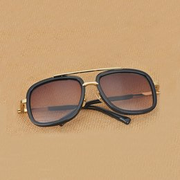 Vintage Cat Plates NZ - Hot new men brand designer sunglasses titanium sunglasses gold plated vintage retro style square frame UV400 lens original case