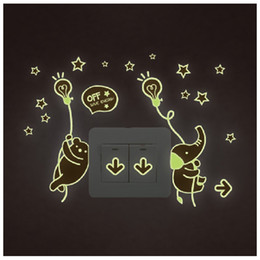 Light Switch Stickers Kids Canada - Y0040 Night Light Luminous Stickers Home Decor Animals Wall Sticker for Kids Rooms Wall Decals Cute Animals
