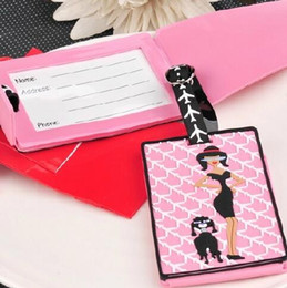 Dog luggage online shopping - Pink girl and dog luggage tag cute silica boarding tags portable label suit for travel theme and Summer Autumn Spring