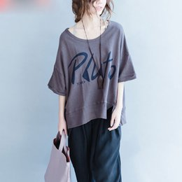 $enCountryForm.capitalKeyWord NZ - Women Plus Size T-Shirt Summer Letter Printing Cotton Female Vintage Tops Elegant Large Size O-Neck Tumblr Korea Grey T-Shirt