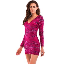 756d4a68287e New Sequin Long Sleeve Dress Sexy Mini Party Pencil Dress Women Red Striped Short  Cocktail Prom Dresses LJG0731