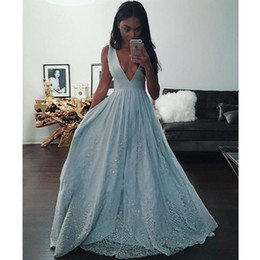 Sweet 16 Party Dresses Pink Canada - Plunging Neckline Prom Dresses Light Blue Graduation Party Dresses Lace Applique Sequins Prom Gowns Deep V-Neck Pageant Gowns Sweet 16