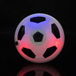 foam footballs wholesale Canada - 20PCS Led lights Air Power Soccer Ball Disc Indoor Football Toy Multi-surface Hovering and Gliding Toy Soft Foam Floating