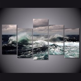 wave art canvas sets Canada - 5 Pcs Set Framed HD Printed Clouds Waves Picture Wall Art Canvas Print Room Decor Poster Canvas Painting Wall