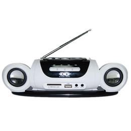 Mini Mp3 Player Battery UK - Wholesale-Mini Protable Radio FM Receiver Stereo Speaker with USB Disk SD Card MP3 Music Player Rechargeable Battery Radio Recorder White
