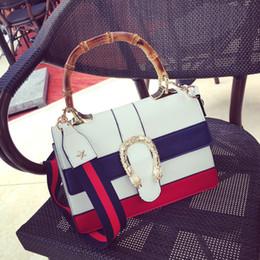 7d50e7109ecc бамбуковая ручка женщины сумочка 2016 Новый полосатый дамы сумка высокого  качества искусственная кожа сумка женский бренд дизайнер