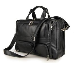 """$enCountryForm.capitalKeyWord UK - Wholesale- Vintage Genuine Leather Men's Briefcase Black Messenger Bag Large Capacity Business Travel Bag for men 15.6"""" Laptop Handbag"""