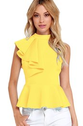 Barato Colete Assimétrico-CRYG Mais novo Office Ladies Summer Fashion Clubwear Asymmetric Ruffle Side Peplum Tops Mulheres Sleeveless Tanks Vest Blusas