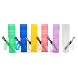 Double Filter Bongs NZ - 2017 New folded portable silicone water bong water pipe 7 colors plastic bong double filter silicone oil rig glass bong for smoking pipe