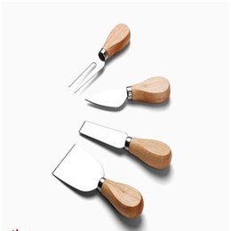 Wood Handle Kitchen Knife Set UK - 4 Pcs Set Cheese Knives with Wood Handle Steel Stainless Cheese Slicer Cheese Cutter Kitchen Knives
