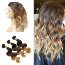 Lace Frontal Bundles Brown Ombre Hair Canada - 3 Tone 1B 4 27 Brown Blonde Ombre Body Wave Virgin Human Hair Bundles With Pre Plucked 360 Full Lace Band Frontal Closure