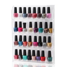 Venta Al Por Mayor Acrílico Clavo Polaco Racks Baratos-Al por mayor-Makartt Clear Acrylic Nail Polish Rack 4-Layer Integrado Nail Display Nail Vanish Almacenamiento F0206