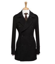 Cheap warm Clothing online shopping - Black cheap winter coats for men s clothing warm Double breasted wool coat thickening thermal coat men casaco masculino XL