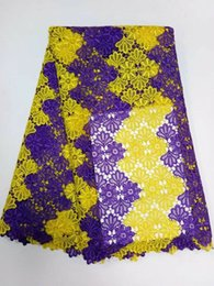 $enCountryForm.capitalKeyWord NZ - 5 Yards pc hot sale purple and yellow gippy lace embroidery african water soluble mesh lace for dress BW135-6