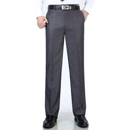 Wholesale lightweight summer suits resale online - Summer new men s trousers Anti wrinkle smooth silk suits pants business dress pants middle aged men s suit trousers plus size