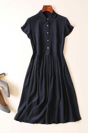 Silk Dress Shirts Canada - Tiny silk shirt dress female summer