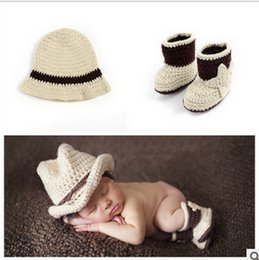 Crochet Baby Boy Cowboy Australia - New Arrival Newborn Baby Photo Props Floral Pattern Cotton Material Cowboy Hat+Shoes Baby Photo Accessories Unisex High Quality