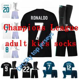 e9c8ef0c6 best Champions League 17 18 Real Madrid kits adult soccer jerseys adult kits  socks 2017 2018 RONALDO JAMES BALE ISCO football shirts