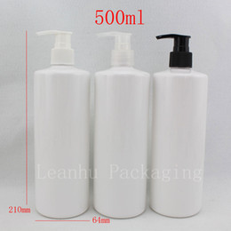 Soap Packages Wholesale Canada - empty cosmetic plastic lotion bottles dispenser ,500ml white shampoo pump bottle container cosmetic packaging with soap pump