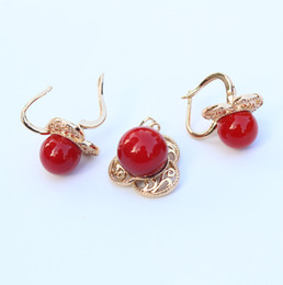 $enCountryForm.capitalKeyWord Canada - Fashion Red Coral Ball Shape Perfect Earrings + Pendant & Necklace Women Wedding & Engagement   Birthday Jewelry Set 11 G