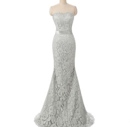 Vestido De Novia De Encaje Griego Baratos-2017 Silver Lace Dama de Honor Vestidos Sweetheart Sirena Griega Real Photo Convertable Maid Of Honour Wedding Invitados Vestidos de Fiesta Elegante