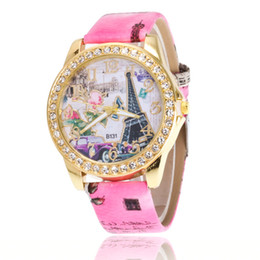 China Free shipping wholesale price fashion Authentic set auger Paris Eiffel Tower watch fashion digital belt lady watch lady watch suppliers